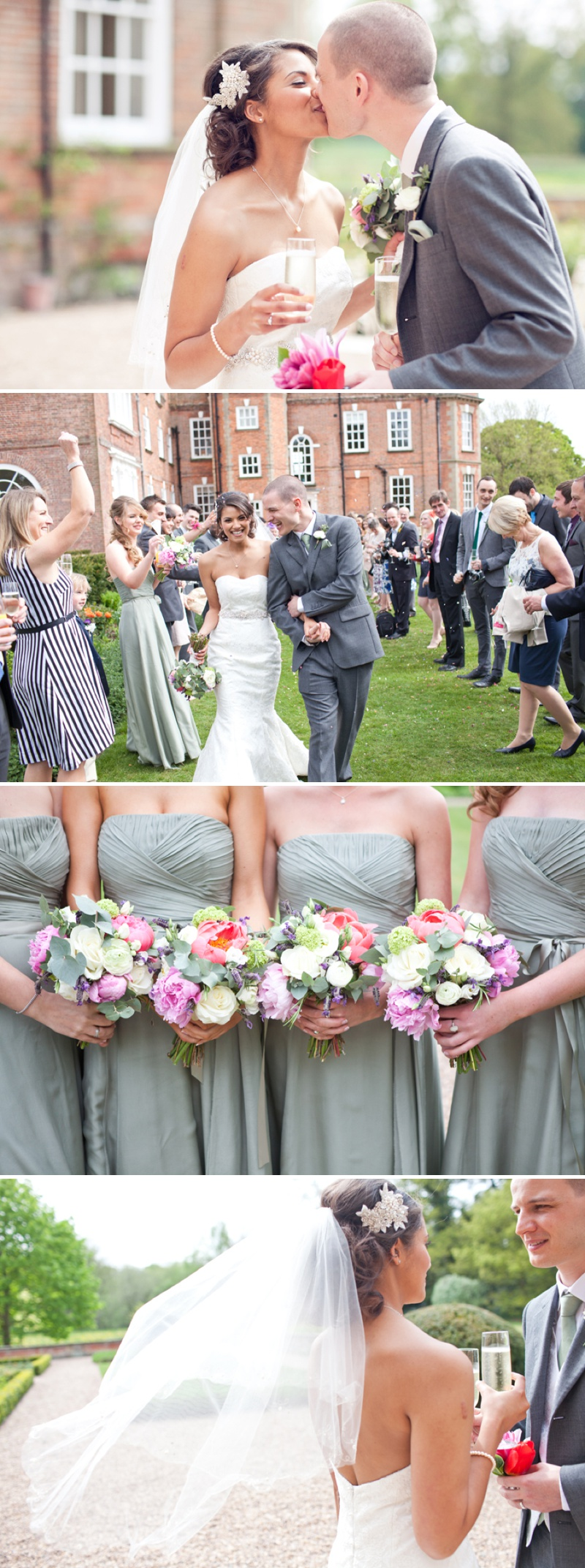 An Elegant English Country Wedding At Iscoyd Park With A Lace Fishtail Wedding Dress By Claire Mischevani and Sage Green Coast Bridesmaid Dresses With A Pink Peony Bouquet._0006