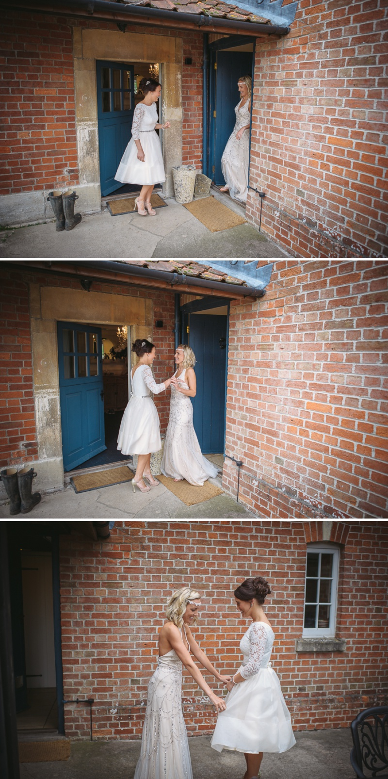 An English summer festival style wedding held in a Tipi with a humanist ceremony with a bride in a Jenny Packham Luna dress and a bride in Miu Miu shoes and a Fur Coat No Knickers Bellini dress._0006