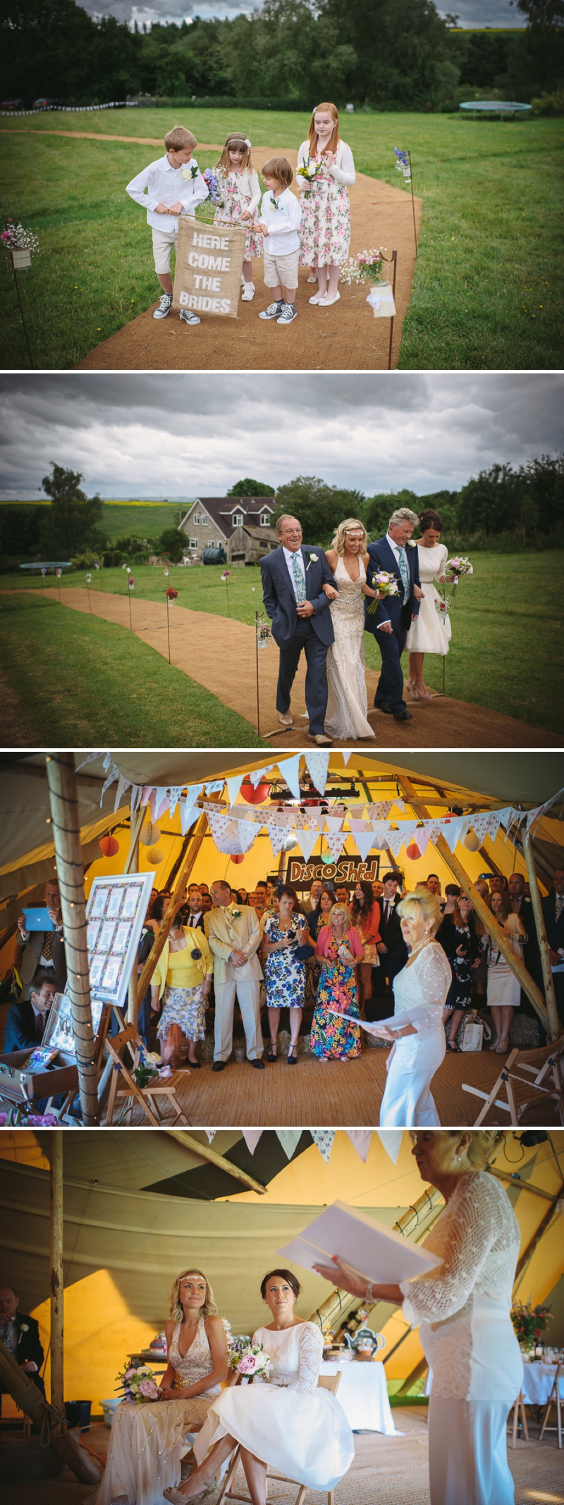 An English summer festival style wedding held in a Tipi with a humanist ceremony with a bride in a Jenny Packham Luna dress and a bride in Miu Miu shoes and a Fur Coat No Knickers Bellini dress._0009