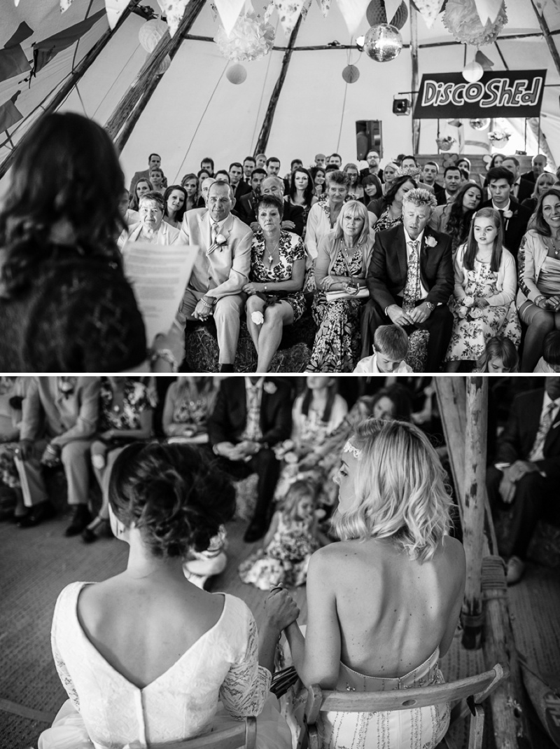 An English summer festival style wedding held in a Tipi with a humanist ceremony with a bride in a Jenny Packham Luna dress and a bride in Miu Miu shoes and a Fur Coat No Knickers Bellini dress._0011