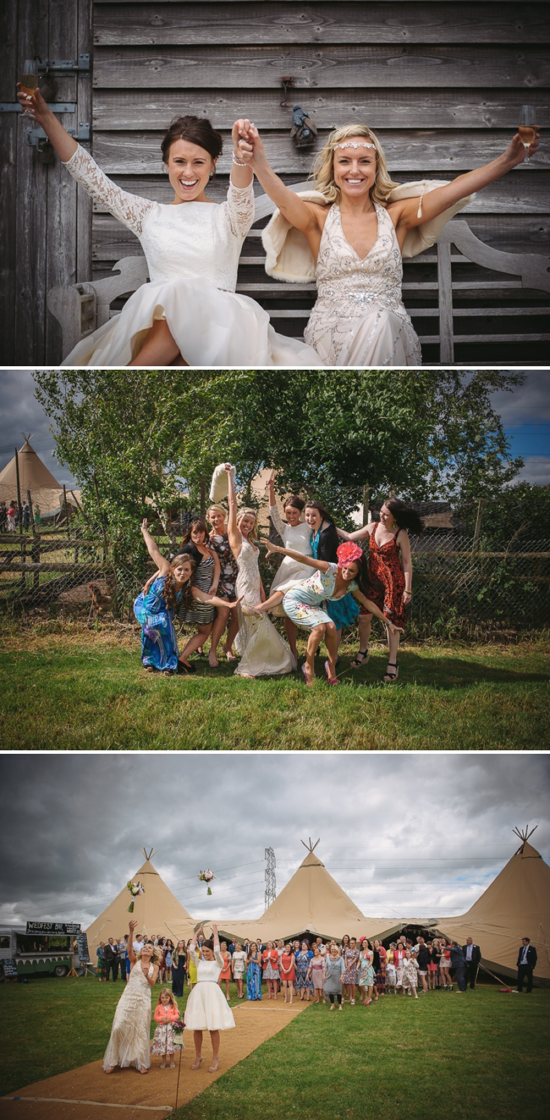 An English summer festival style wedding held in a Tipi with a humanist ceremony with a bride in a Jenny Packham Luna dress and a bride in Miu Miu shoes and a Fur Coat No Knickers Bellini dress._0016