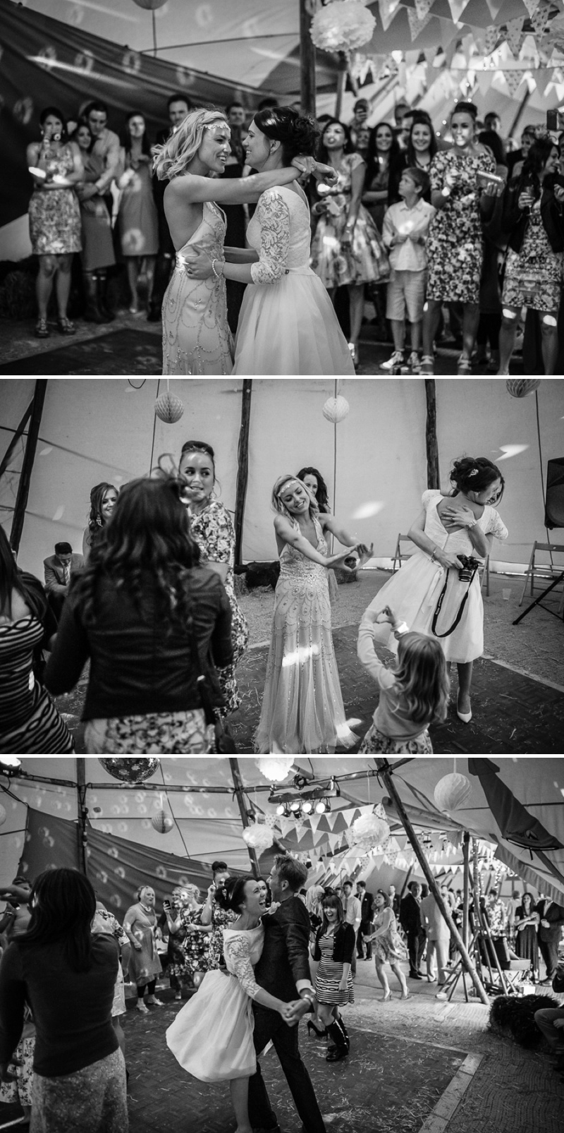 An English summer festival style wedding held in a Tipi with a humanist ceremony with a bride in a Jenny Packham Luna dress and a bride in Miu Miu shoes and a Fur Coat No Knickers Bellini dress._0020