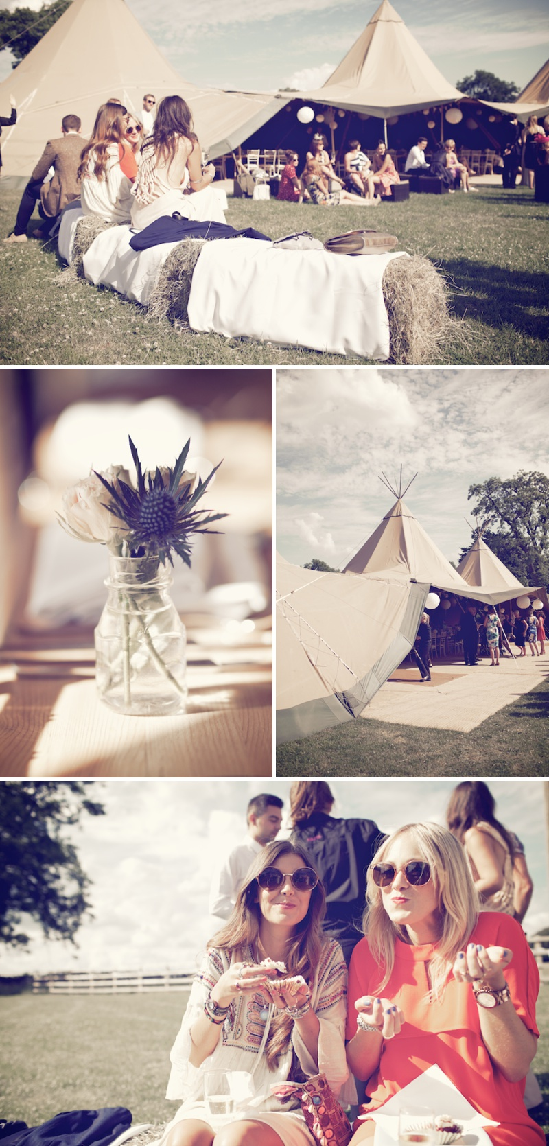 An Ethereal Bohemian Inspired Wedding At Standlow Farm With Tipis From Papakata, A David Fielden Dress And Juliet Cap Veil With A Sweet Avalanche Rose Bouquet 9