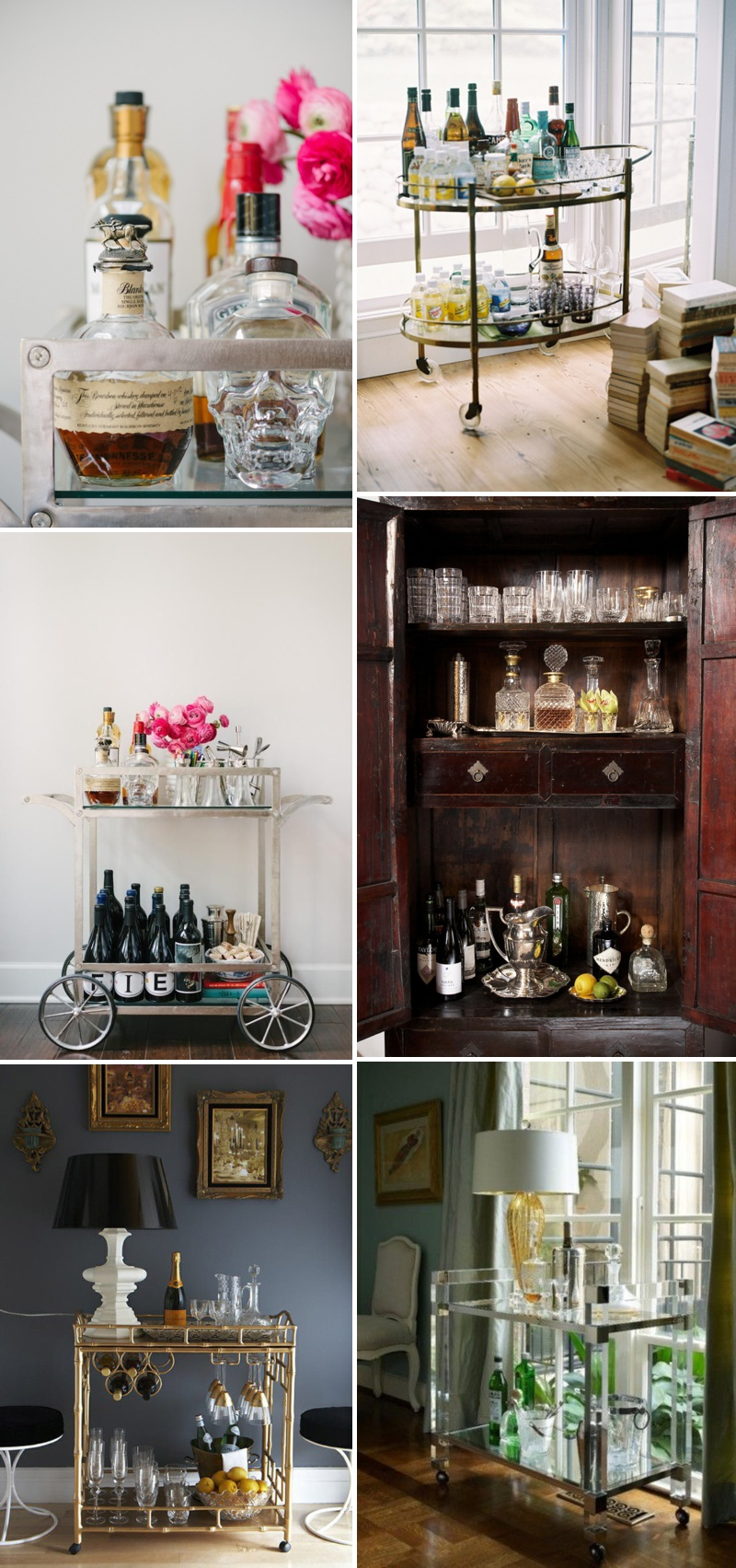 An idea packed inspiration post showing you how to make a glamorous and chic bar cart for your home and wedding.