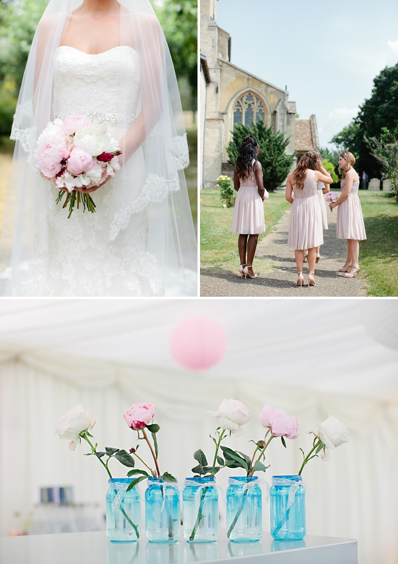 Elegant Church Wedding In Cambridge, Reception At Rectory Farm, Bride In Lace Gown by Benjamin Roberts with Pink Peony Bouquet, Traditional Nigerian Dress, Images by Millie & Belle_0006