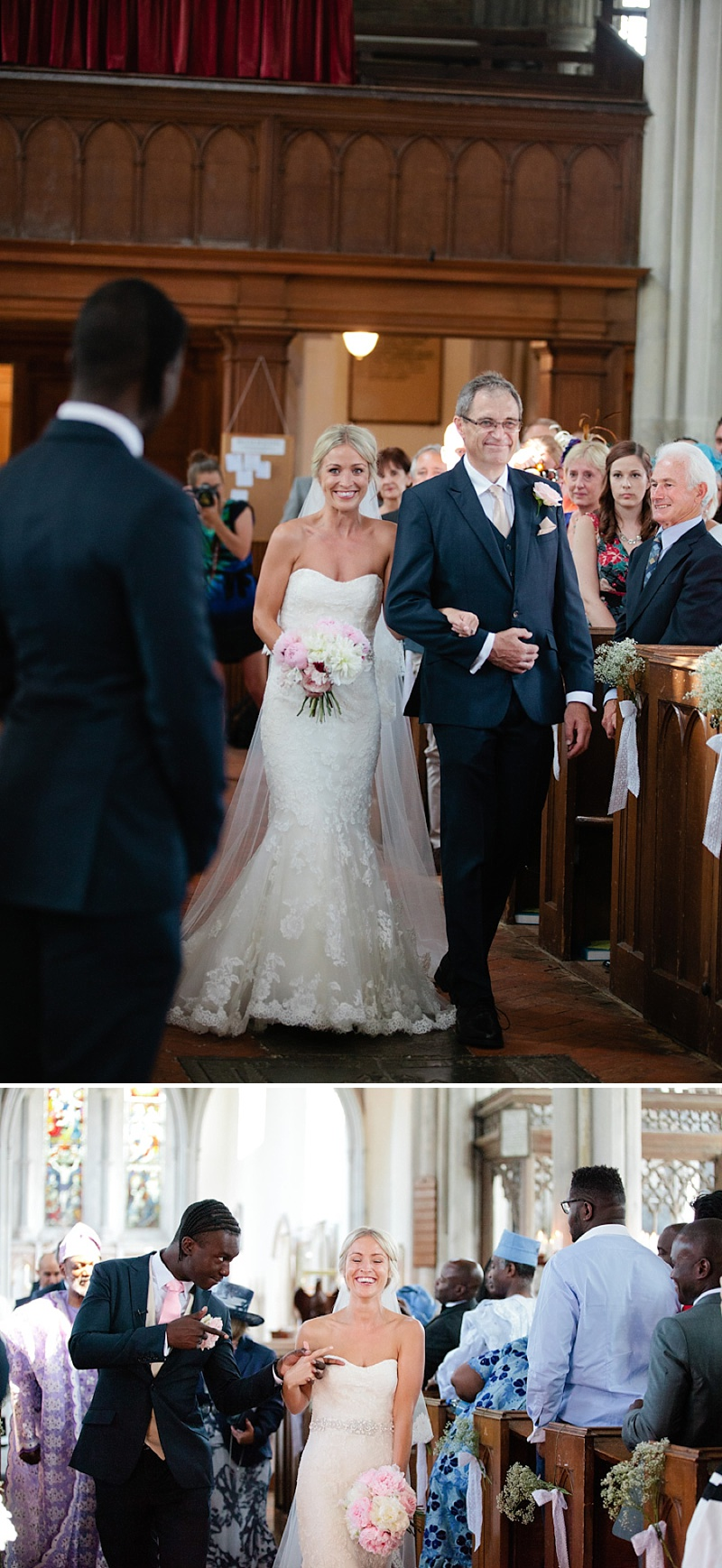 Elegant Church Wedding In Cambridge, Reception At Rectory Farm, Bride In Lace Gown by Benjamin Roberts with Pink Peony Bouquet, Traditional Nigerian Dress, Images by Millie & Belle_0007