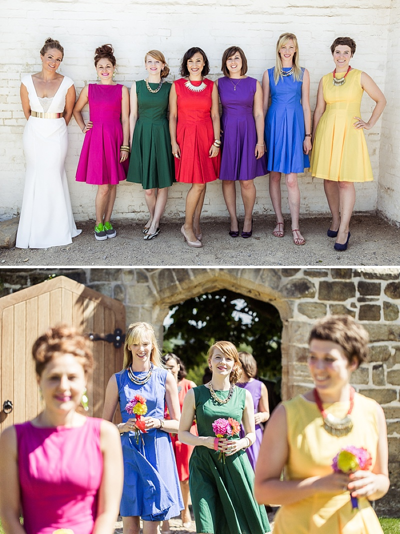 Marquee Wedding In East Sussex, Bride In Self-Designed Gown Made By Angela Webber, With Gold Matthew Williamson Belt, Bright Coloured 50s Style Bridesmaids Dresses, Images by Andrew Marshall_0007