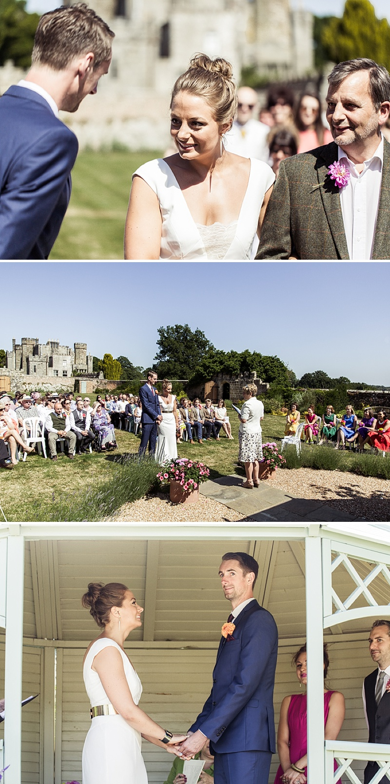 Marquee Wedding In East Sussex, Bride In Self-Designed Gown Made By Angela Webber, With Gold Matthew Williamson Belt, Bright Coloured 50s Style Bridesmaids Dresses, Images by Andrew Marshall_0007a