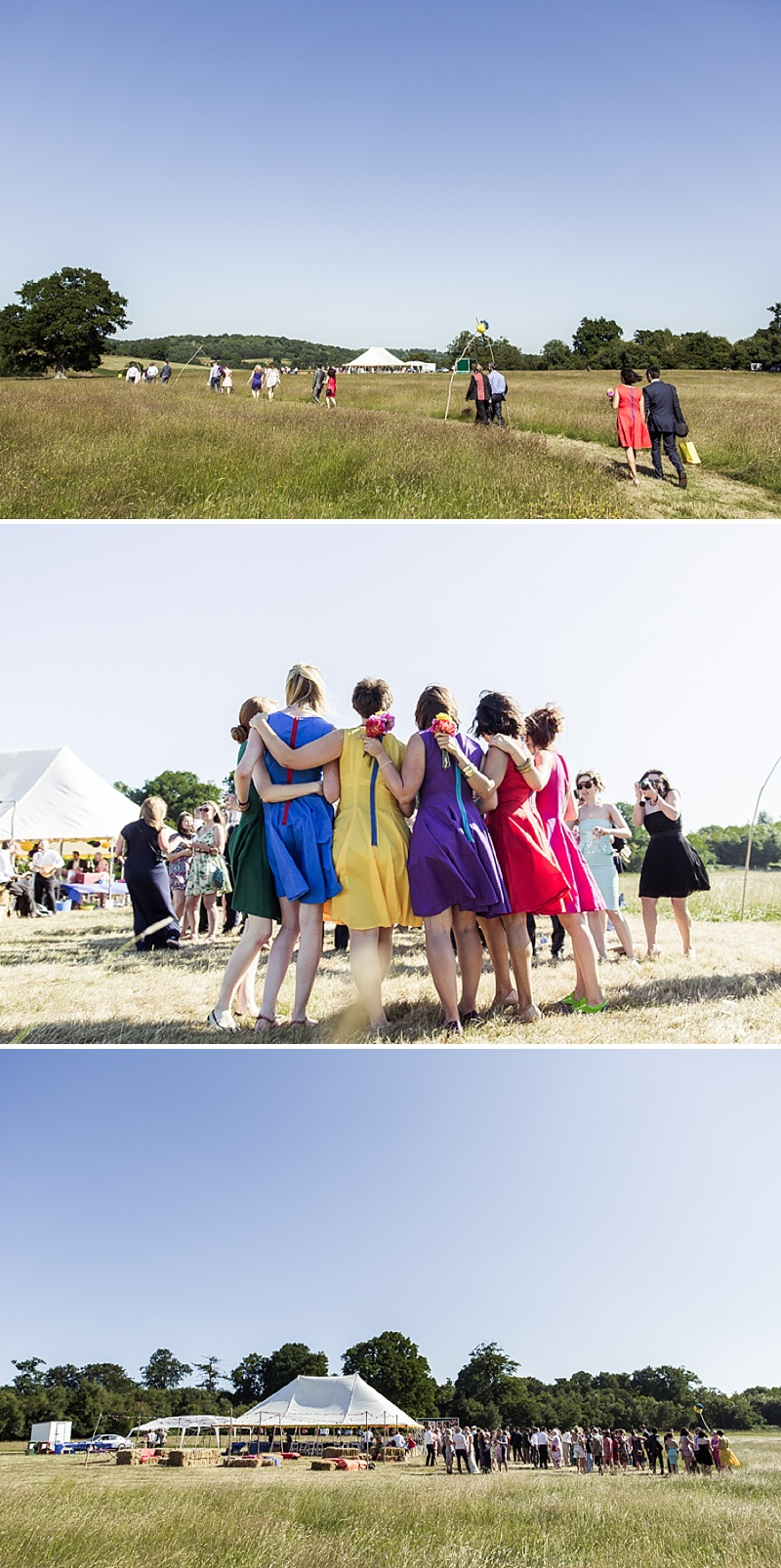 Marquee Wedding In East Sussex, Bride In Self-Designed Gown Made By Angela Webber, With Gold Matthew Williamson Belt, Bright Coloured 50s Style Bridesmaids Dresses, Images by Andrew Marshall_0009