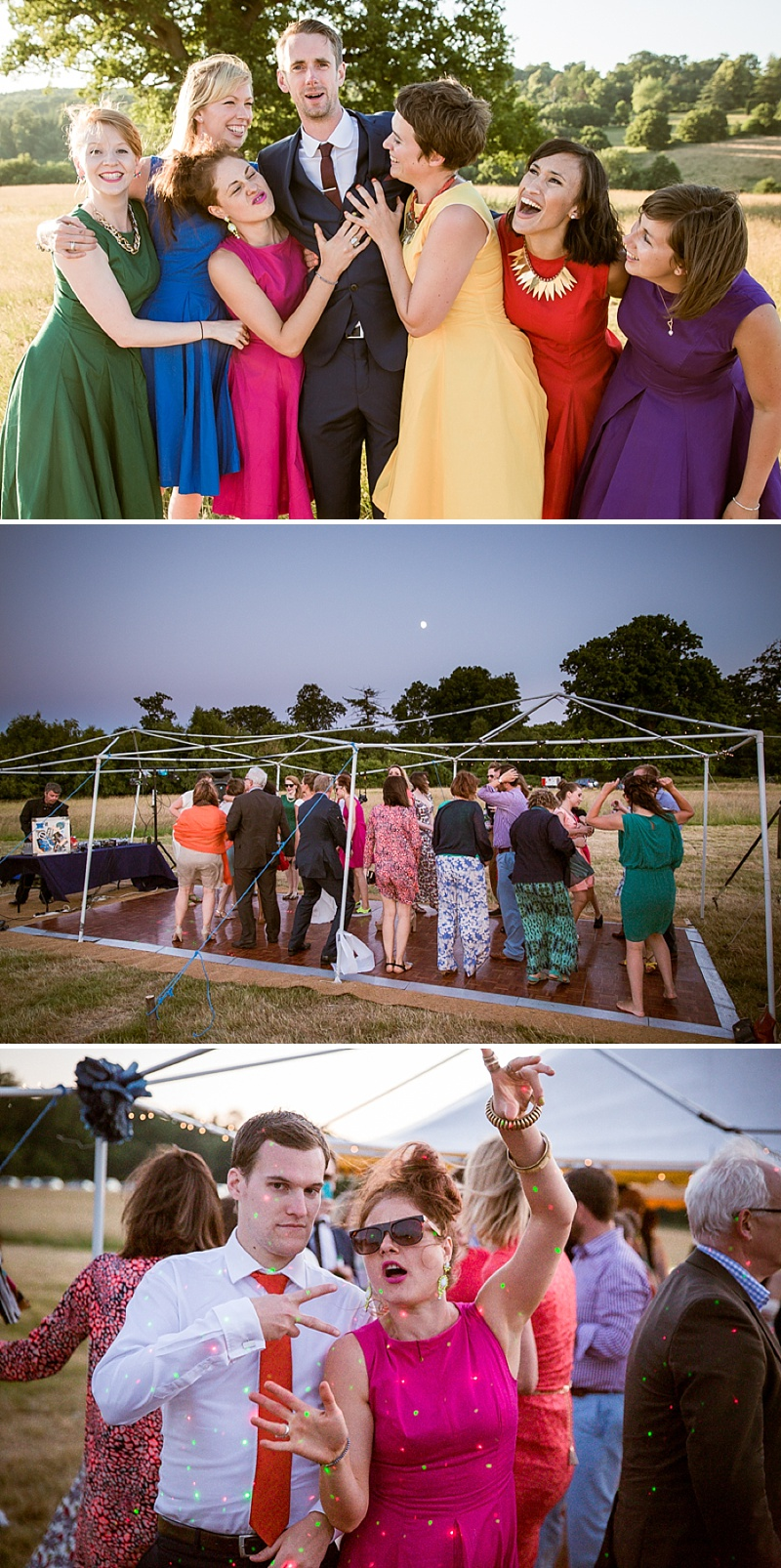 Marquee Wedding In East Sussex, Bride In Self-Designed Gown Made By Angela Webber, With Gold Matthew Williamson Belt, Bright Coloured 50s Style Bridesmaids Dresses, Images by Andrew Marshall_0013