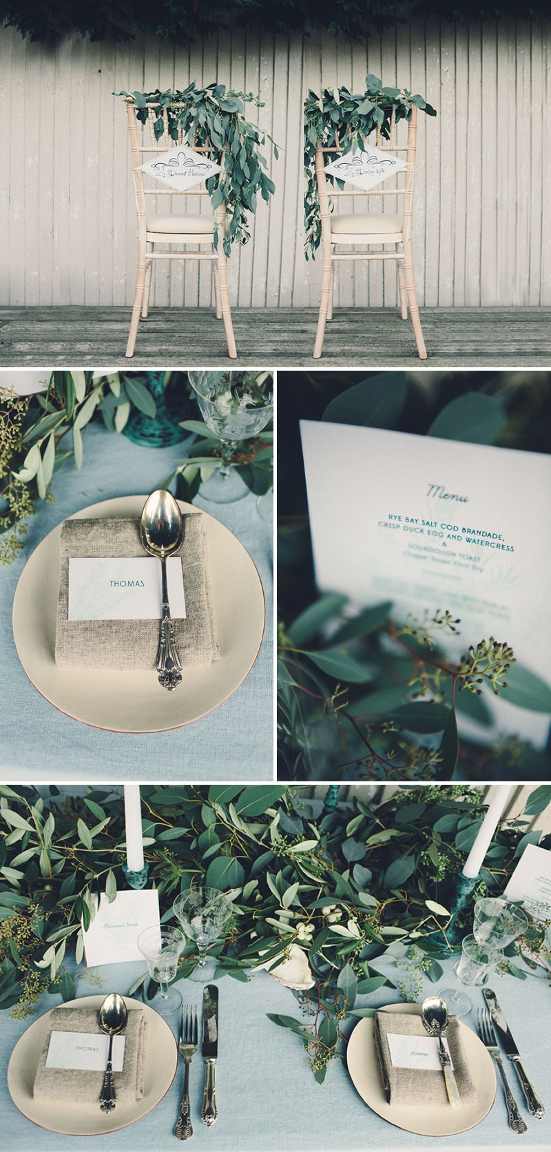 A Coastal Wedding Decor Inspiration Shoot From Rock My Wedding Featuring A Rustic Olive Leaf Table Centrepiece And A Luxury Sequinned Wedding Tablescape._0001