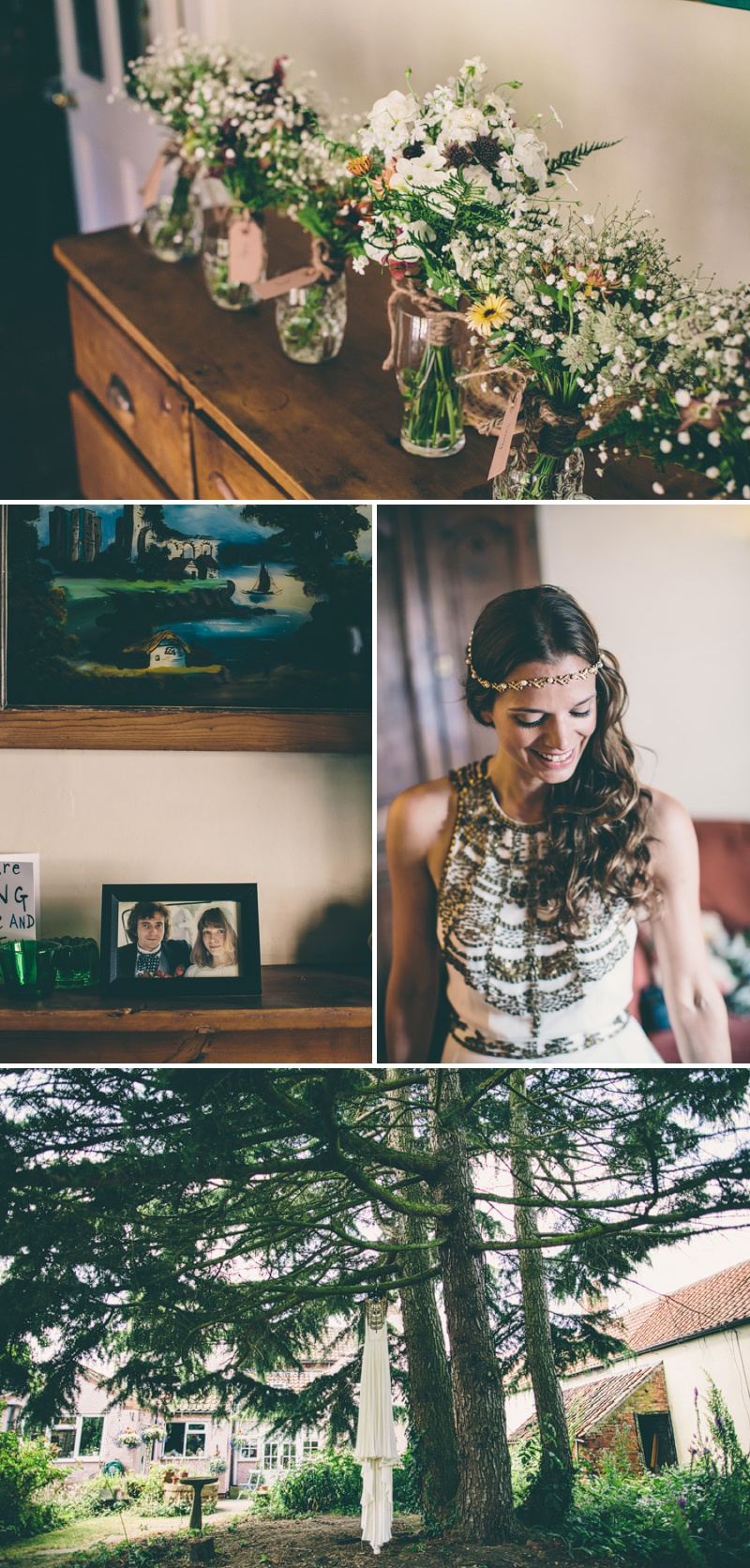 A Maid Marian Festival Inspired Wedding At Glebe Farm With An Amanda Wakeley Cleopatra Dress, Mismatched Bridesmaids And A Vintage Rosie Weisencrantz Headpiece._0004