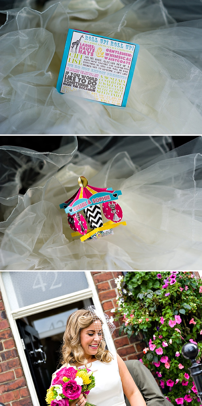 A Vintage Circus Themed Wedding With Brightly Coloured Balloons And Bunting, Gold Glittery Table Numbers, Smarties As Favours And A Carosel Cake Topper Bride In Kiki By Kurt Geiger With Images From Shoot Photography_0007