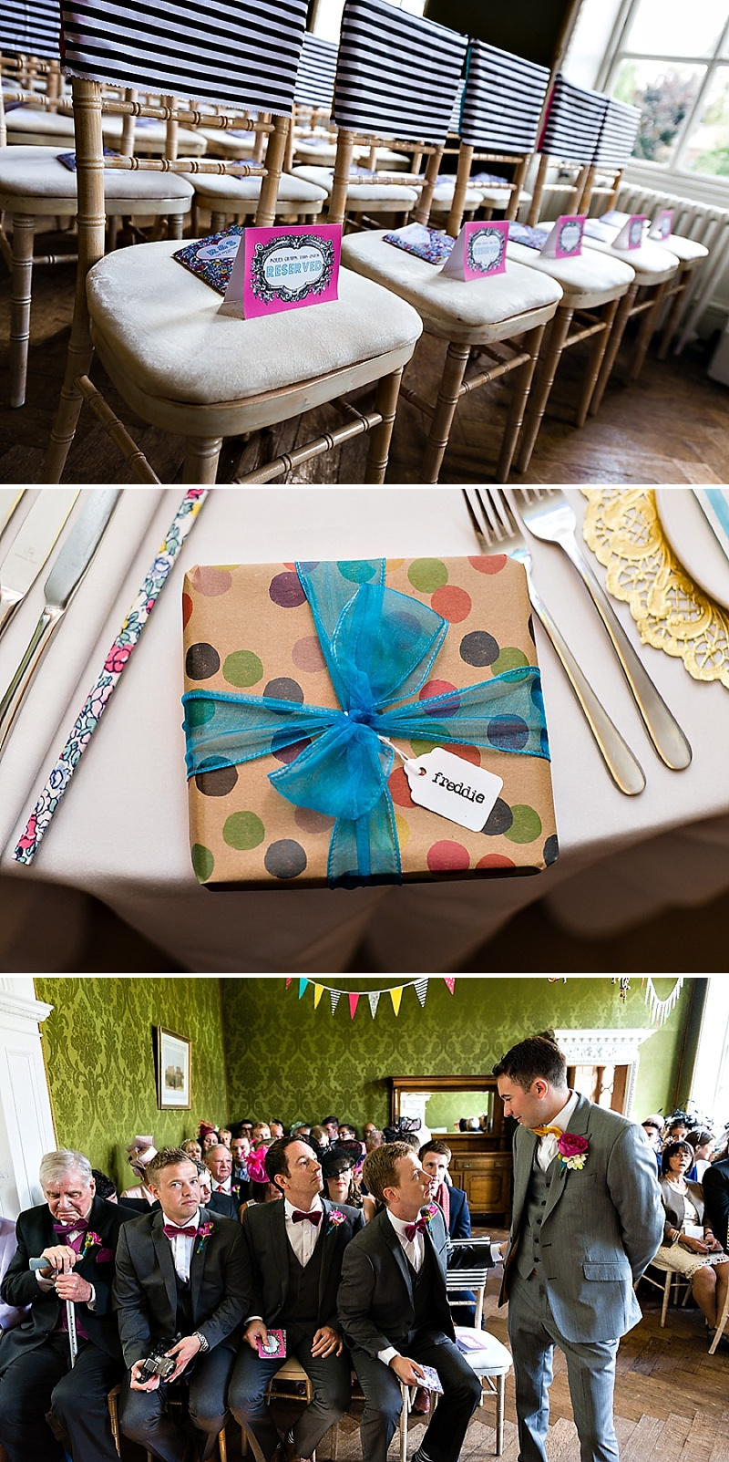A Vintage Circus Themed Wedding With Brightly Coloured Balloons And Bunting, Gold Glittery Table Numbers, Smarties As Favours And A Carosel Cake Topper Bride In Kiki By Kurt Geiger With Images From Shoot Photography_0009