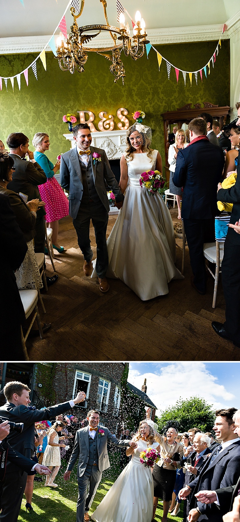 A Vintage Circus Themed Wedding With Brightly Coloured Balloons And Bunting, Gold Glittery Table Numbers, Smarties As Favours And A Carosel Cake Topper Bride In Kiki By Kurt Geiger With Images From Shoot Photography_0011