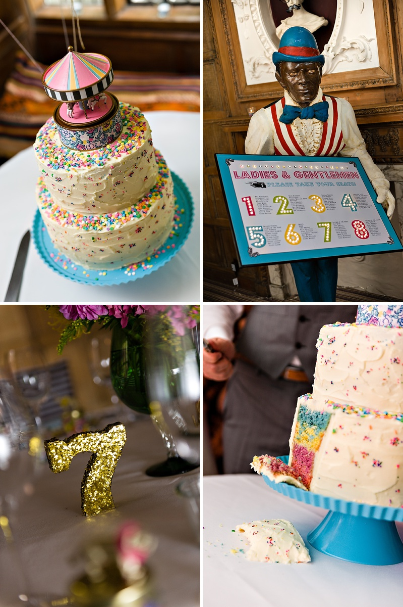 A Vintage Circus Themed Wedding With Brightly Coloured Balloons And Bunting, Gold Glittery Table Numbers, Smarties As Favours And A Carosel Cake Topper Bride In Kiki By Kurt Geiger With Images From Shoot Photography_0012