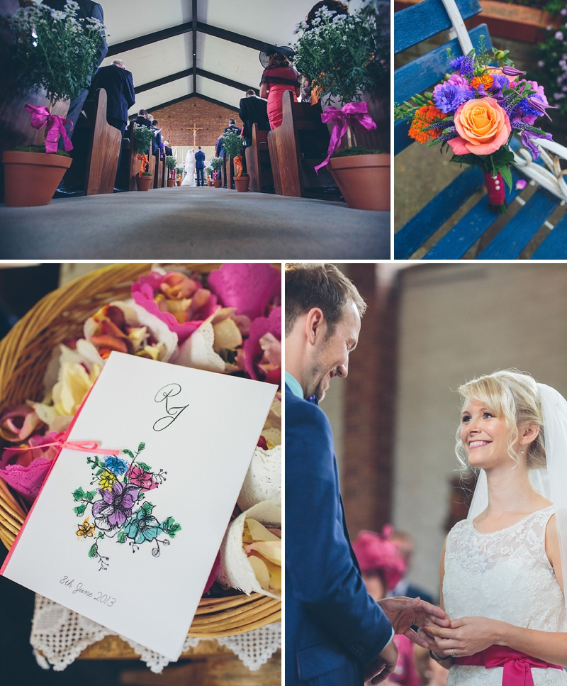 Colourful Rustic Wedding At The Rickety Barn Cambridgeshire Bride In Benjamin Roberts Gown Groom In Navy Cad And The Dandy Suit Images By Richard Skins024