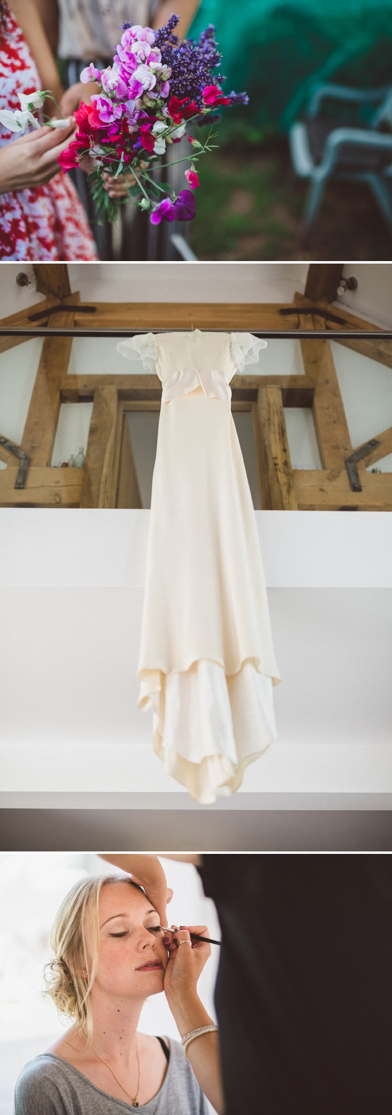 A Beautiful Bohemian Back Garden English Wedding With A Silk Charlie Brear Dress With Lace Cap Sleeves And Flower Crowns From Rhys Parker Photography._0003