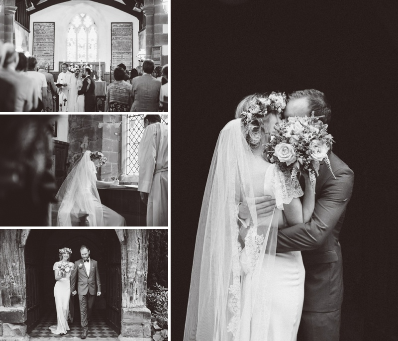 A Beautiful Bohemian Back Garden English Wedding With A Silk Charlie Brear Dress With Lace Cap Sleeves And Flower Crowns From Rhys Parker Photography._0009