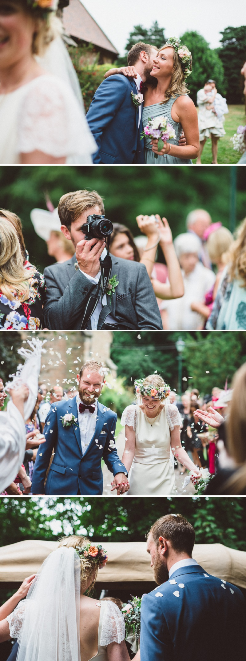 A Beautiful Bohemian Back Garden English Wedding With A Silk Charlie Brear Dress With Lace Cap Sleeves And Flower Crowns From Rhys Parker Photography._0010