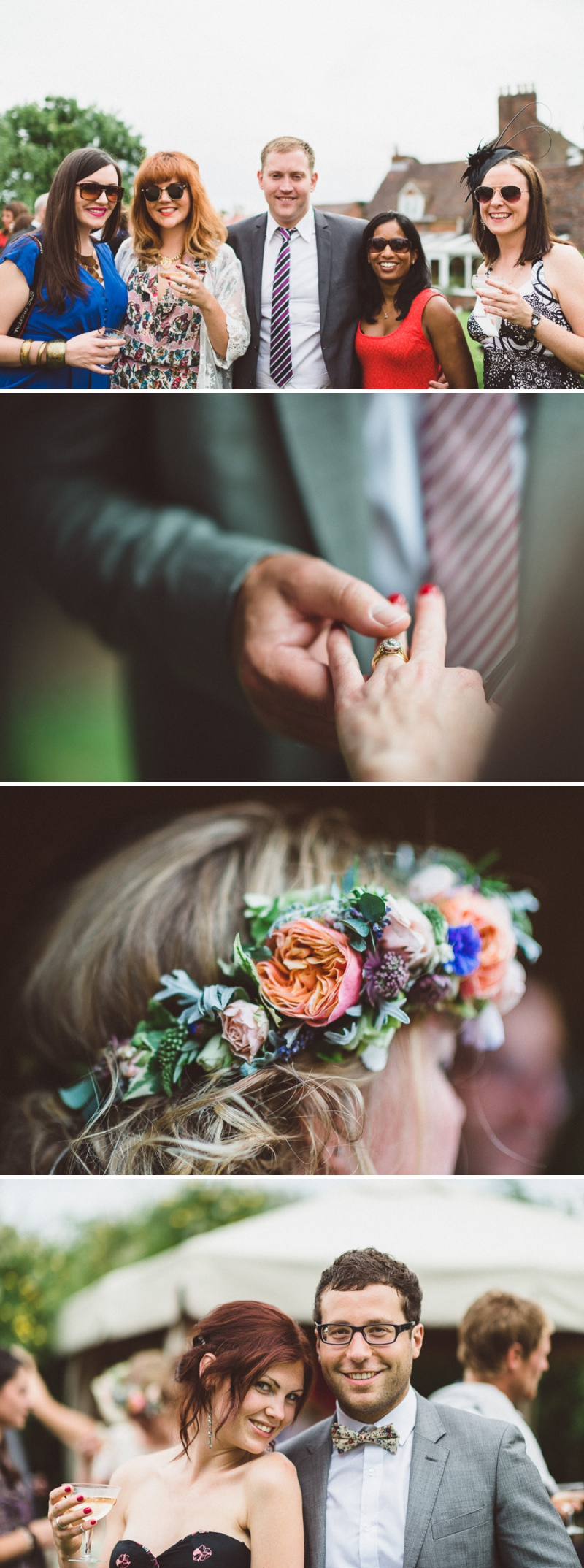 A Beautiful Bohemian Back Garden English Wedding With A Silk Charlie Brear Dress With Lace Cap Sleeves And Flower Crowns From Rhys Parker Photography._0013