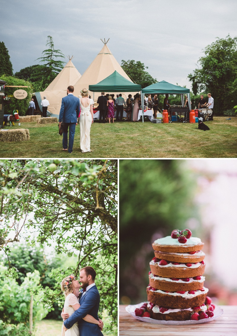 A Beautiful Bohemian Back Garden English Wedding With A Silk Charlie Brear Dress With Lace Cap Sleeves And Flower Crowns From Rhys Parker Photography._0014