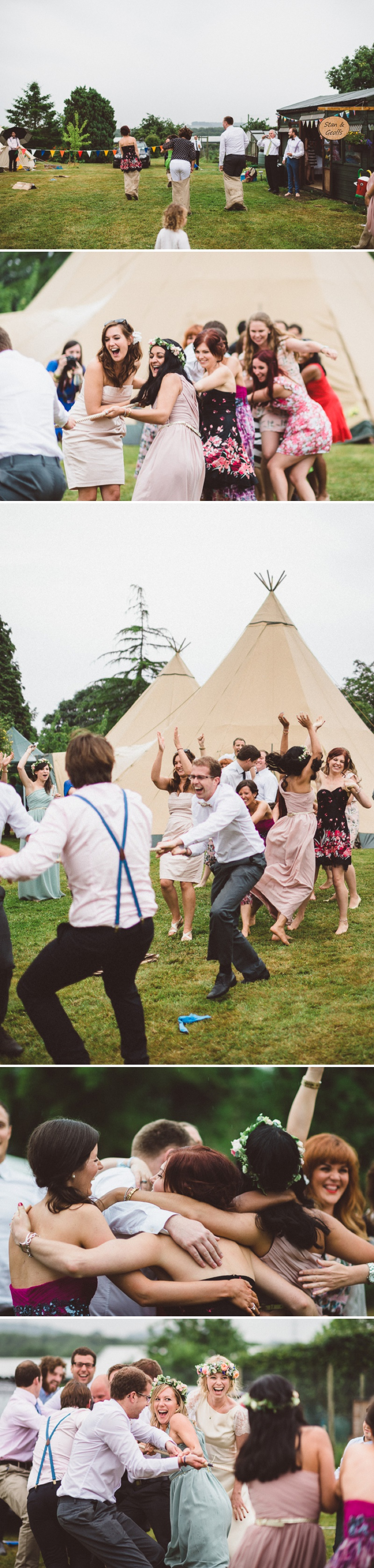 A Beautiful Bohemian Back Garden English Wedding With A Silk Charlie Brear Dress With Lace Cap Sleeves And Flower Crowns From Rhys Parker Photography._0018