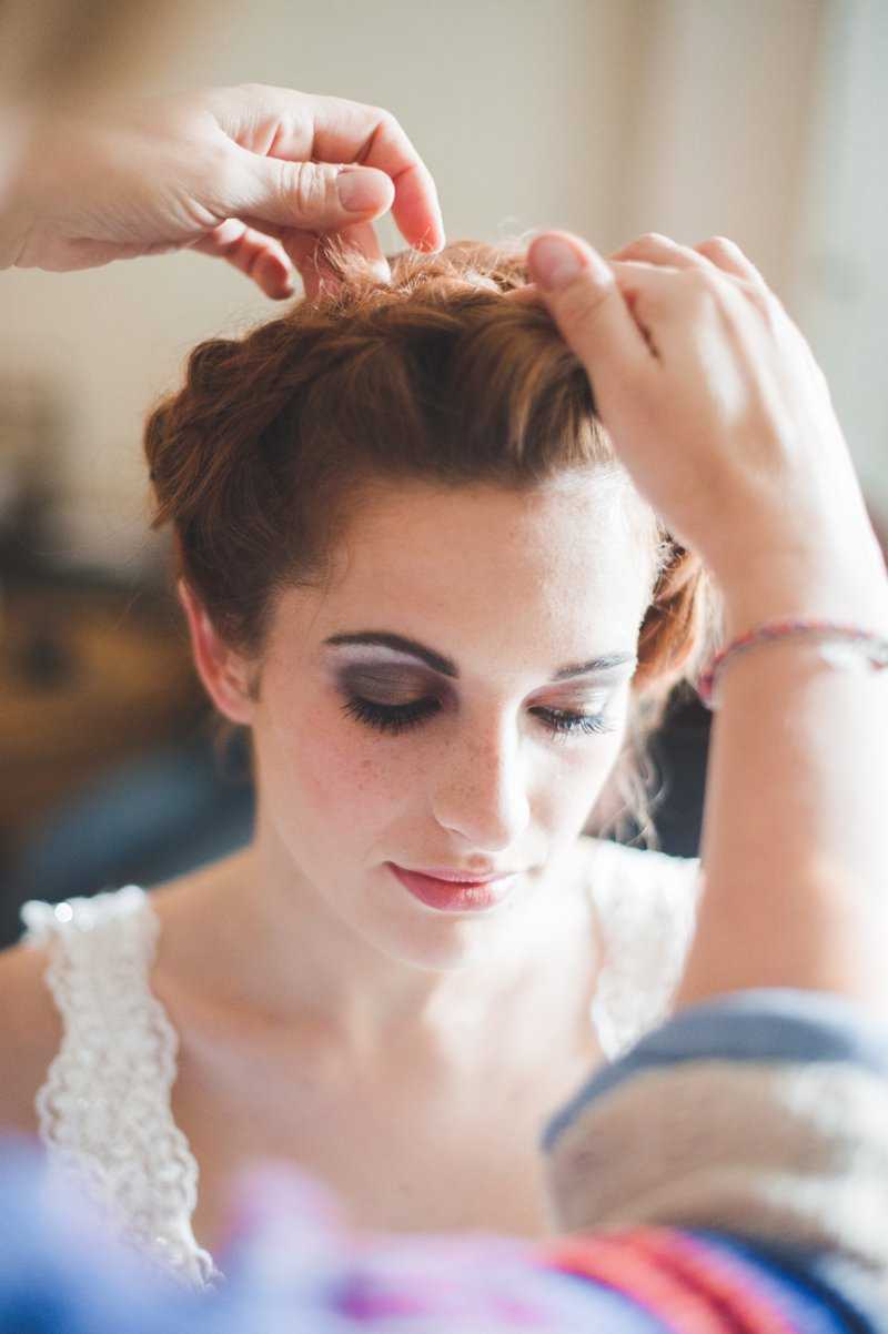 A Bridal Hair Tutorial Showing Brides How To Create Perfect Tousled Sexy Waves and A Boho Braided Updo For Your Wedding Day._0011
