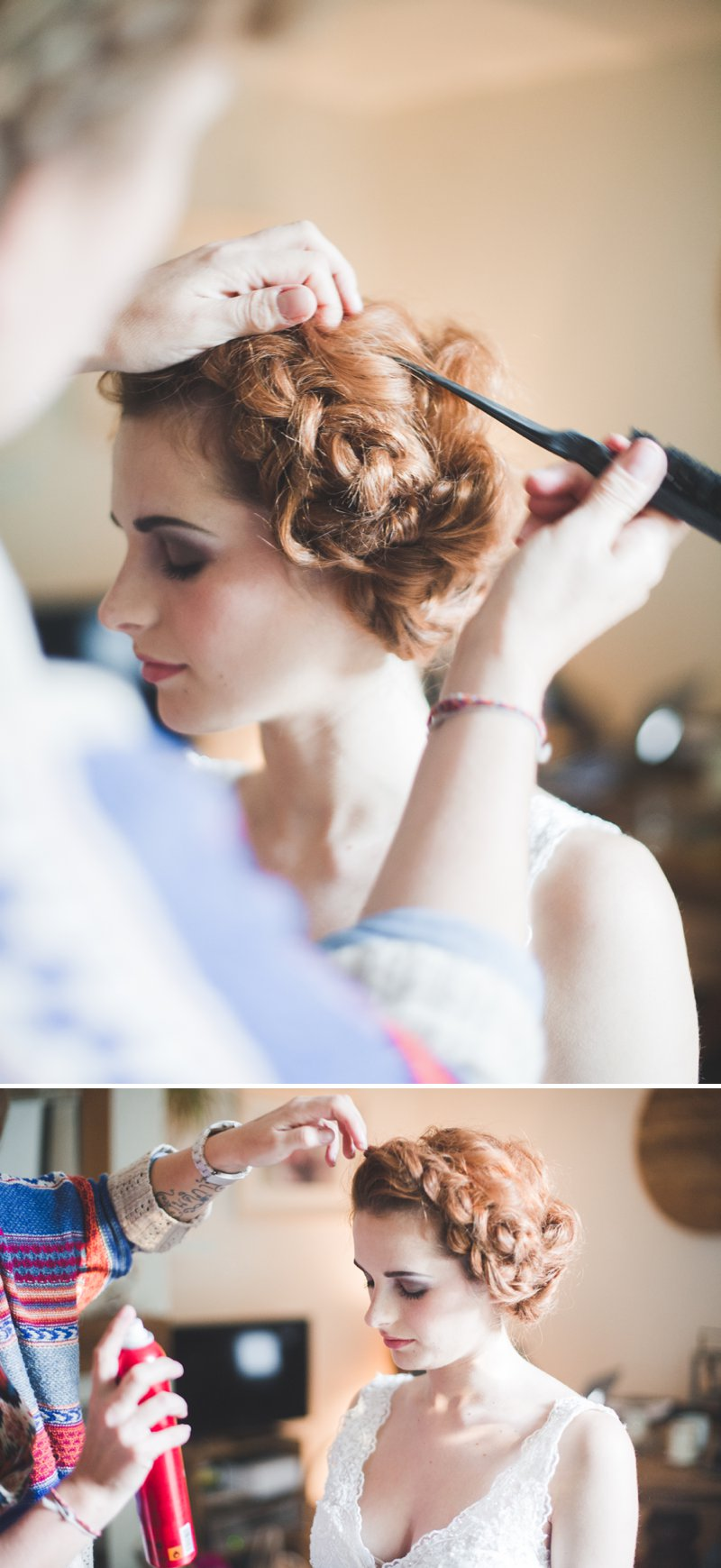 A Bridal Hair Tutorial Showing Brides How To Create Perfect Tousled Sexy Waves and A Boho Braided Updo For Your Wedding Day._0012