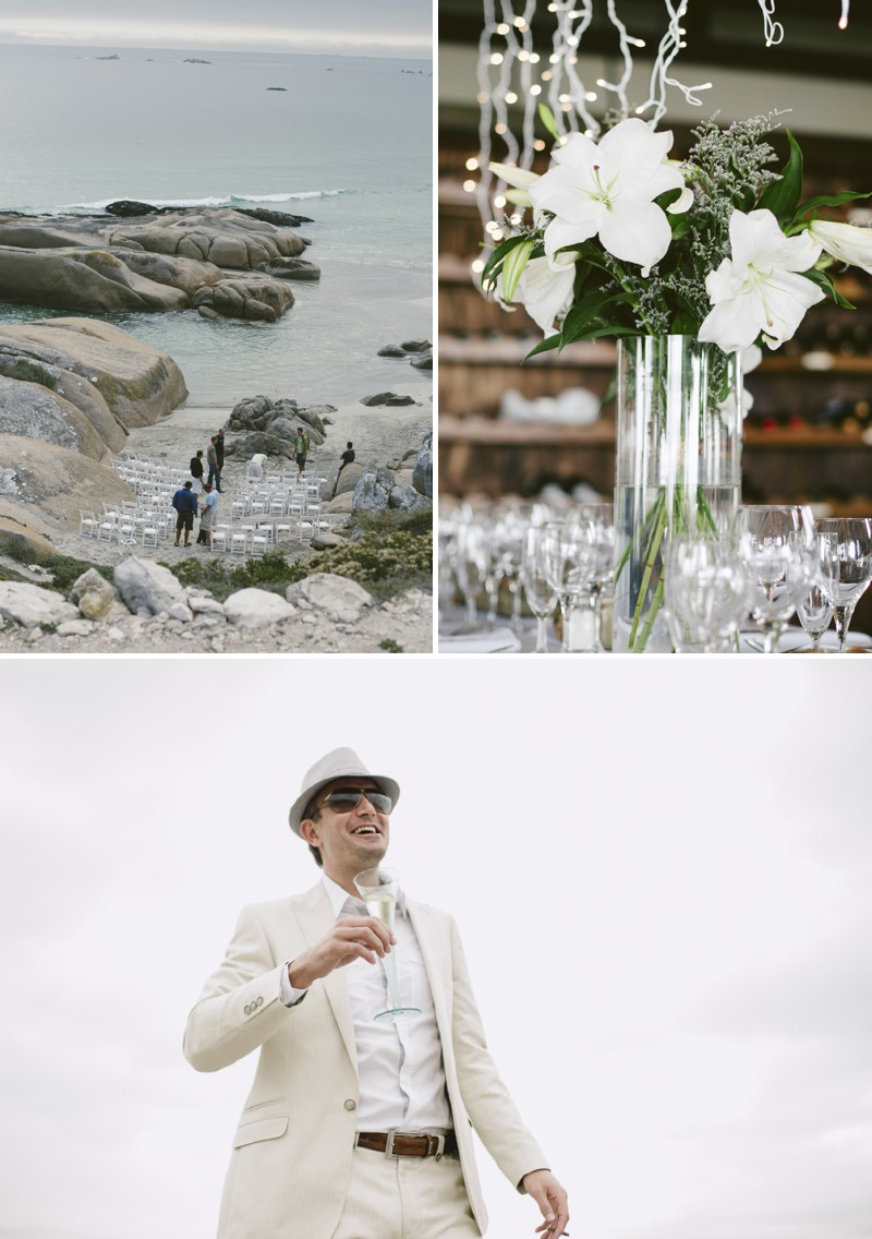 A South African Destination Beach Wedding At Pasternoster Lodge With A Grey Colour Scheme And A Raw Chiffon Bespoke Wedding Dress With A White Lily Bouquet Photographed By Jules Morgan._0001