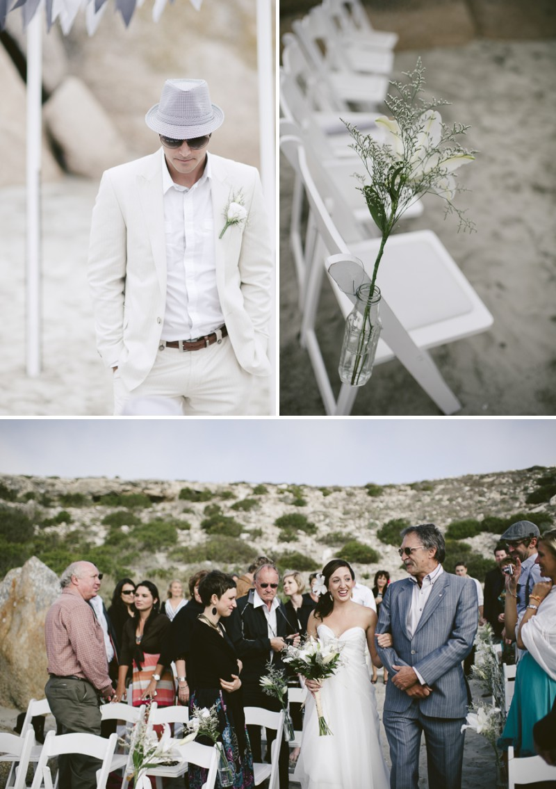 A South African Destination Beach Wedding At Pasternoster Lodge With A Grey Colour Scheme And A Raw Chiffon Bespoke Wedding Dress With A White Lily Bouquet Photographed By Jules Morgan._0005