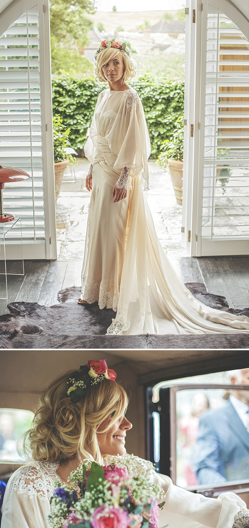 A bespoke designed by the bride wedding dress for a festival Glastonbury themed wedding in Somerset with a floral crown and vintage styling and coral bridesmaids_0473