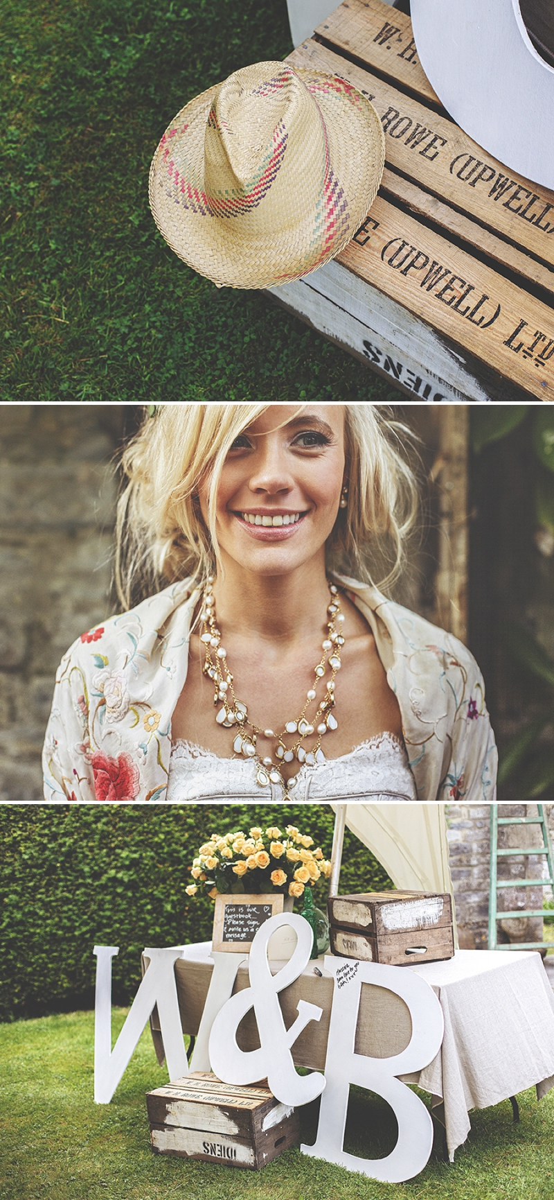 A bespoke designed by the bride wedding dress for a festival Glastonbury themed wedding in Somerset with a floral crown and vintage styling and coral bridesmaids_0479