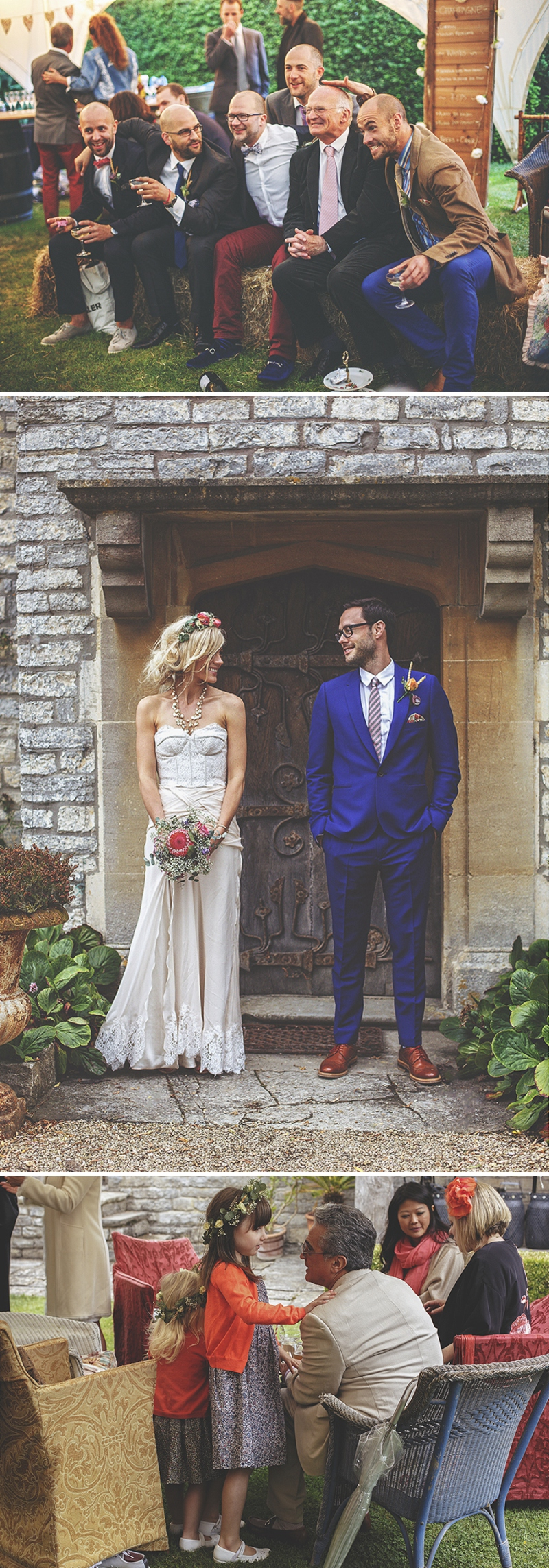 A bespoke designed by the bride wedding dress for a festival Glastonbury themed wedding in Somerset with a floral crown and vintage styling and coral bridesmaids_0483