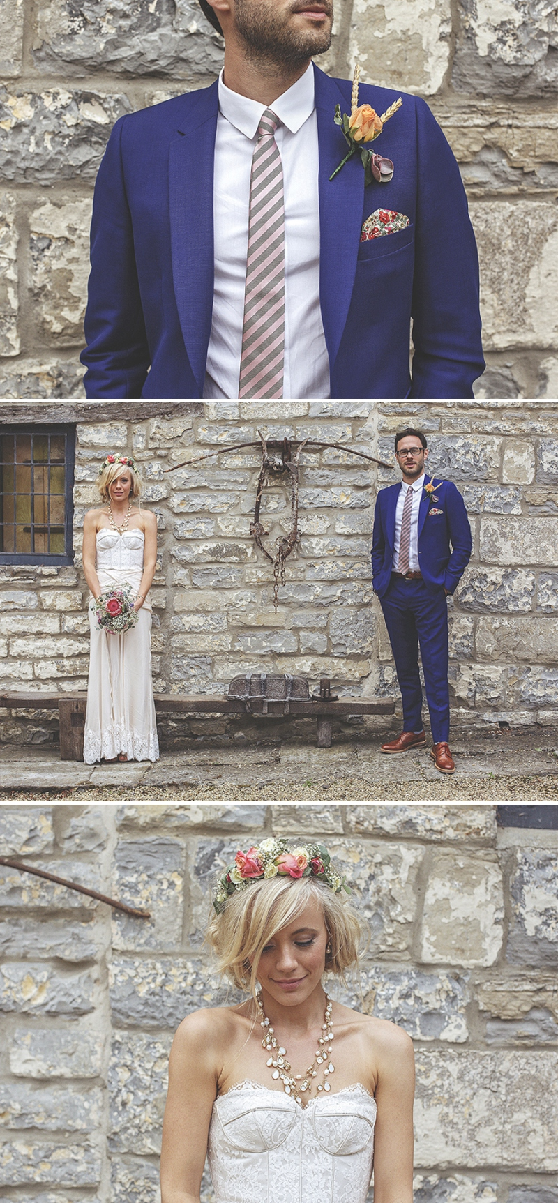 A bespoke designed by the bride wedding dress for a festival Glastonbury themed wedding in Somerset with a floral crown and vintage styling and coral bridesmaids_0484