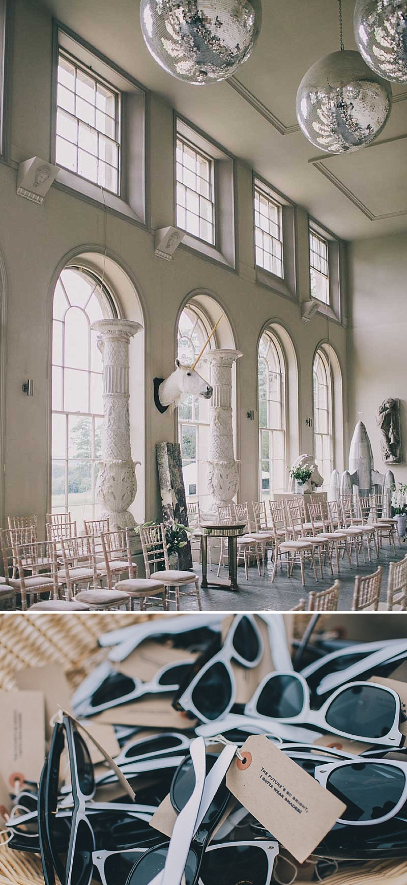 A contemporary wedding at an unusual wedding venue Aynhoe Park with taxidermy decor and dress by Emily Garrod_0008