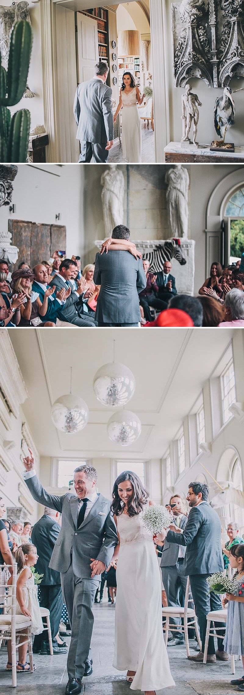 A contemporary wedding at an unusual wedding venue Aynhoe Park with taxidermy decor and dress by Emily Garrod_0010