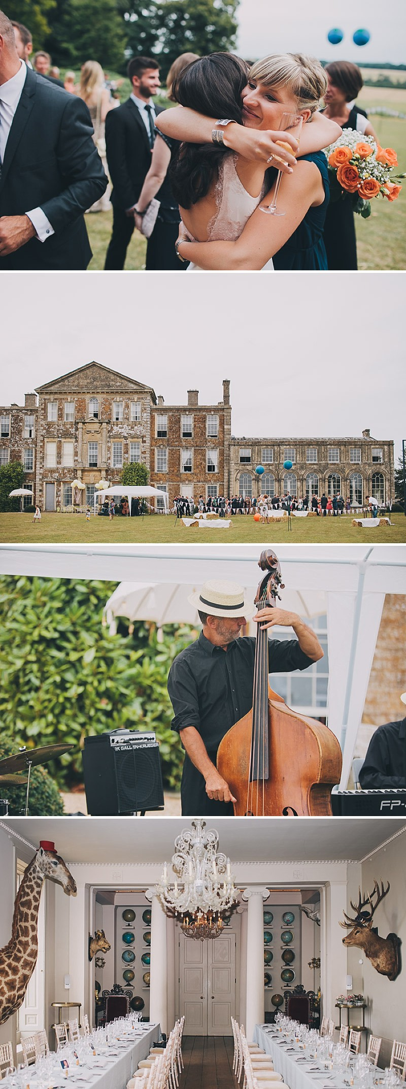 A contemporary wedding at an unusual wedding venue Aynhoe Park with taxidermy decor and dress by Emily Garrod_0012