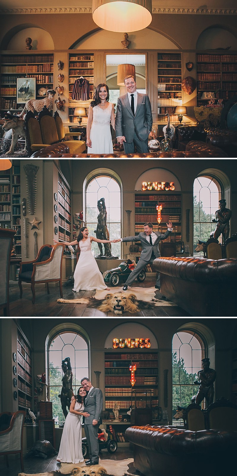 A contemporary wedding at an unusual wedding venue Aynhoe Park with taxidermy decor and dress by Emily Garrod_0014