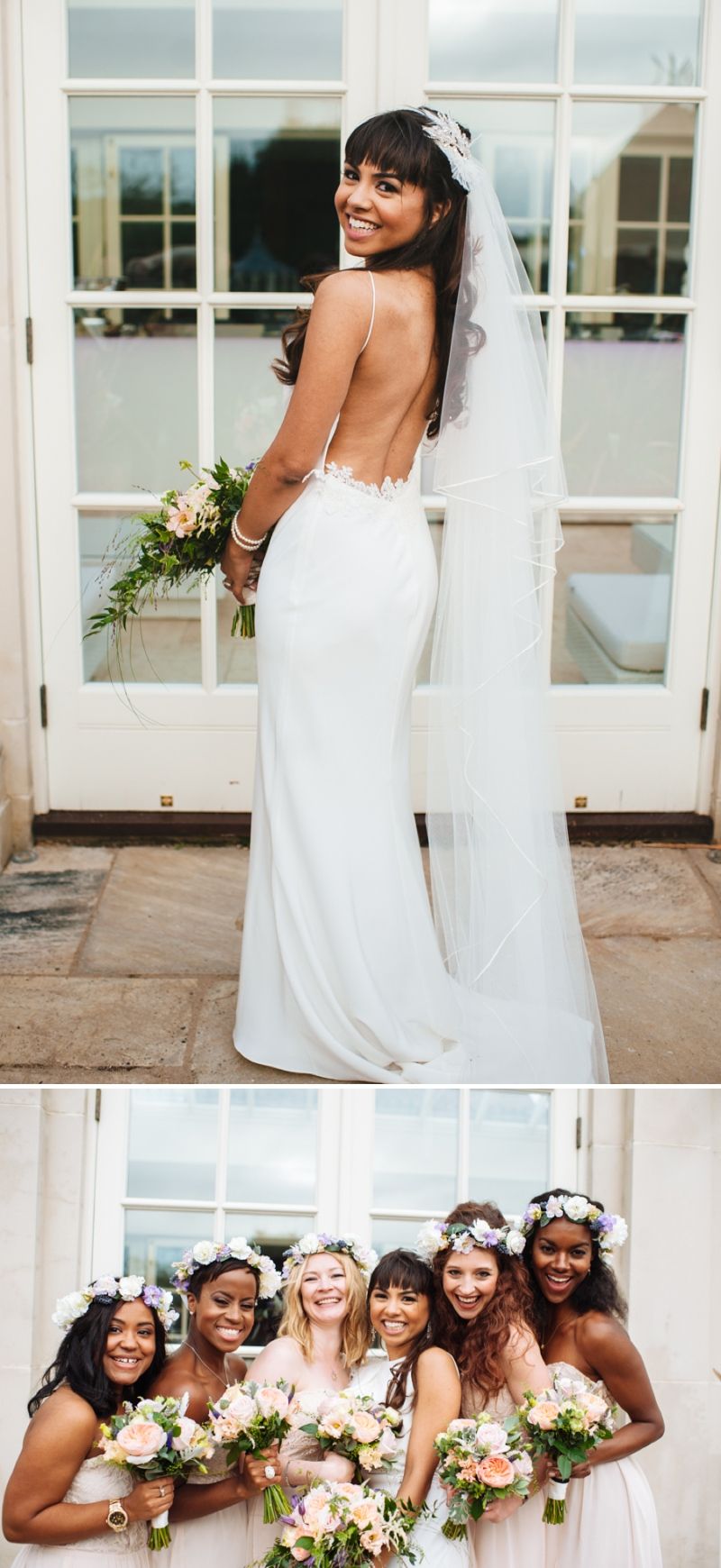 A peach and blush wedding with a David Fielden backless dress and floral crowns_0508