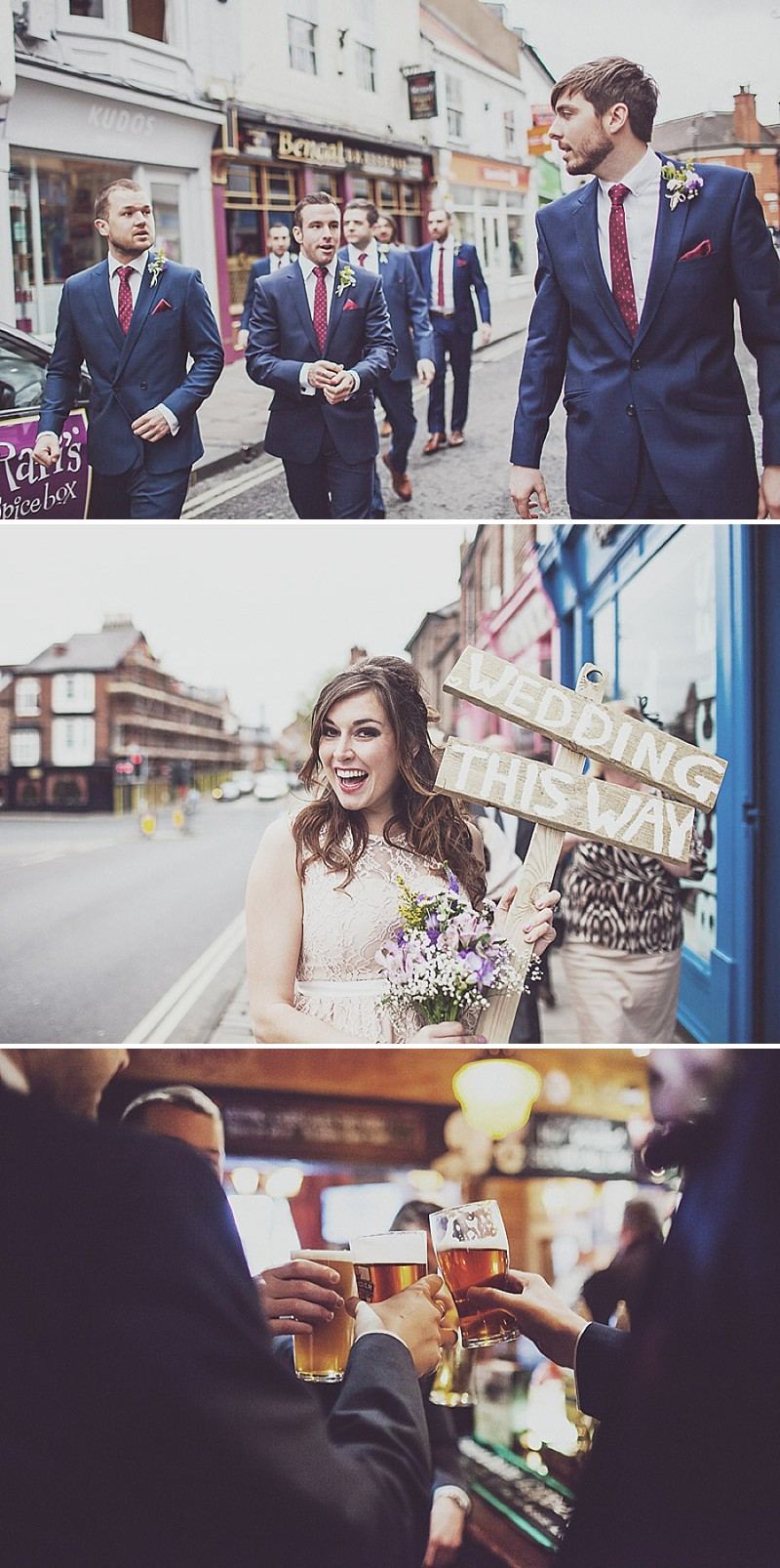 A pink and blue colour scheme Modern wedding at Bedern Hall and The crab and Lobster. Dress by Clinton Lotter, images by Anna Hardy._0001