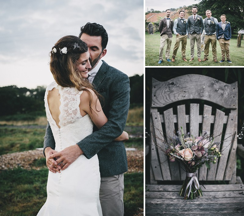A rustic wedding at River Cottage in Devon with hand made DIY favours and grey silver bridesmaid dresses from Monsoon_0001