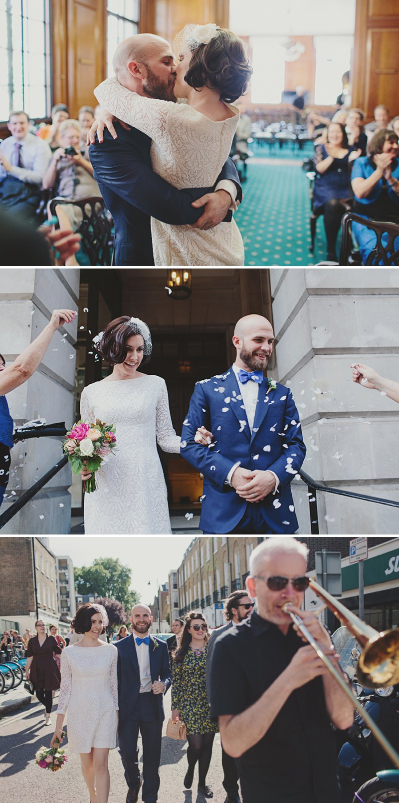 An Intimate And Contemporary Wedding At 6 St Chads Place in London With An Etsy 60s Style Short Wedding Dress And A Pink Rose And Thistle Bouquet Photographed By Jonathan Ong._0009