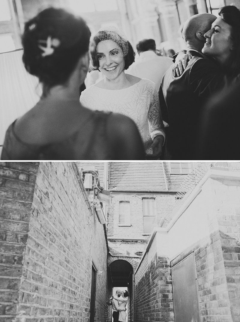 An Intimate And Contemporary Wedding At 6 St Chads Place in London With An Etsy 60s Style Short Wedding Dress And A Pink Rose And Thistle Bouquet Photographed By Jonathan Ong._0010