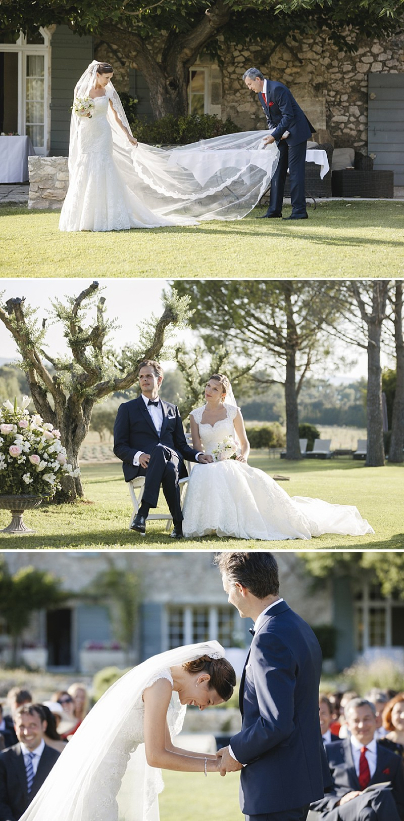 Elegant Wedding At Le Mas De La Rose Provence With Bride In Lace Fishtail Gown By Pronovias And Groom In Navy Armani Tuxedo With Images From Jo Hastings Wedding Photography_0005