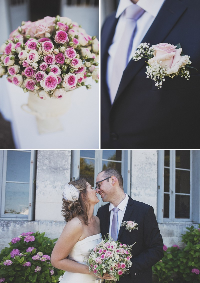 A Beautiful Rustic French Destination Wedding At Rivière de Prats In Gironde With A Rosa Clara Wedding Dress And A Pink Rose Bouquet And An Oyster And Cocktail Buffet By Anna Hardy Photography._0005
