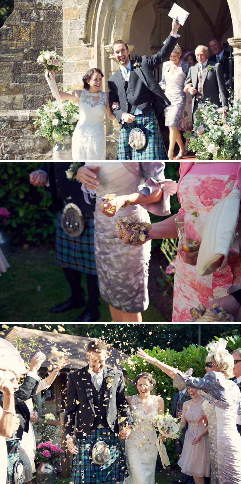A Rustic Scottish And English Themed Woodland Wedding In Surrey With A Lusan Mandongus Dress And A Thistle And Pink Rose Bouquet Photographed by Rebecca Douglas._0005