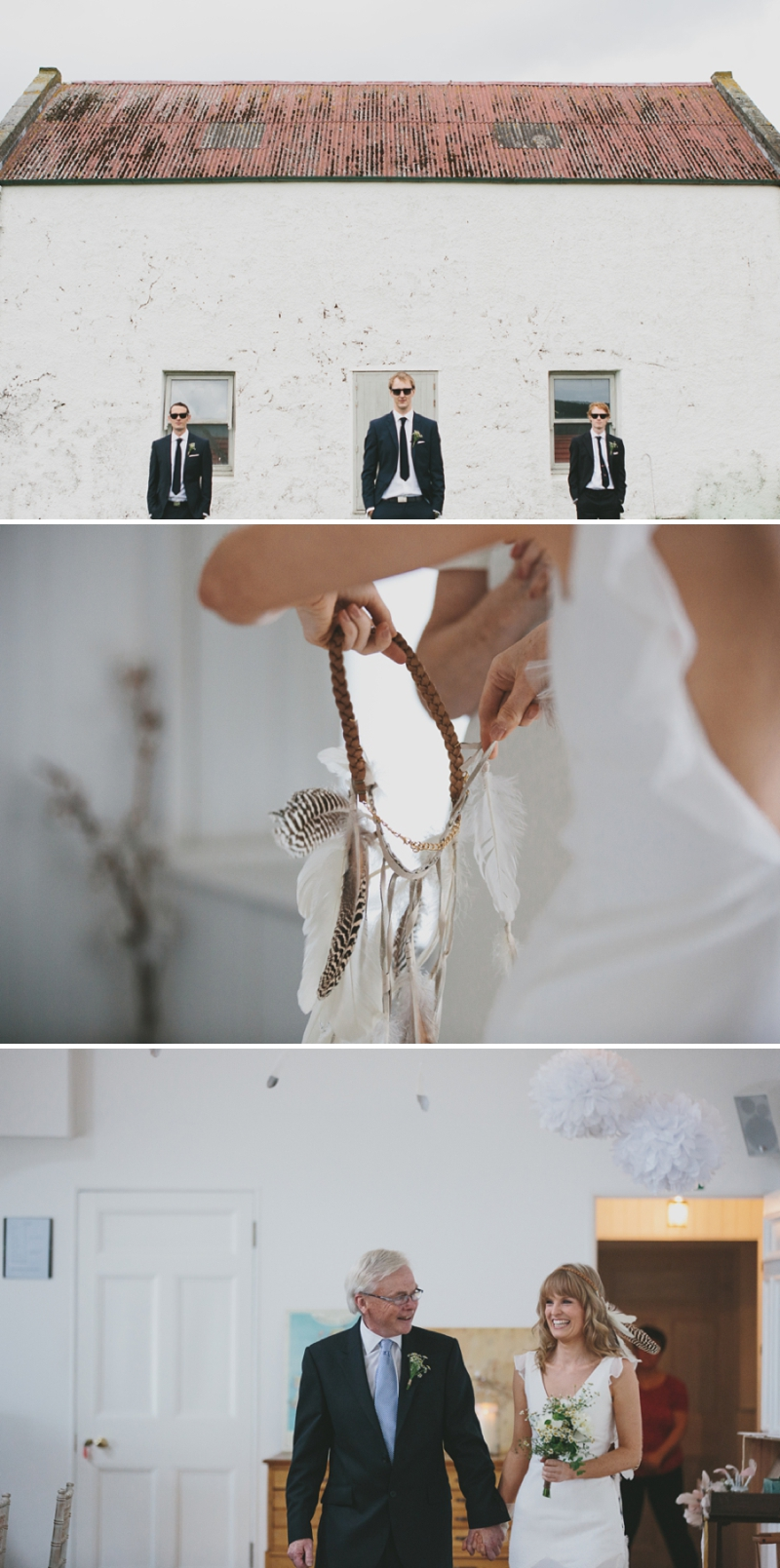 A beautiful modern wedding at Crear in Scotland with a sarah foy dress and feather headdress_0587