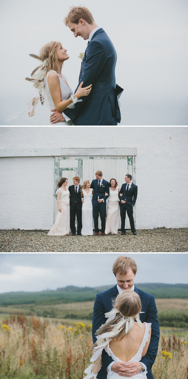 A beautiful modern wedding at Crear in Scotland with a sarah foy dress and feather headdress_0590