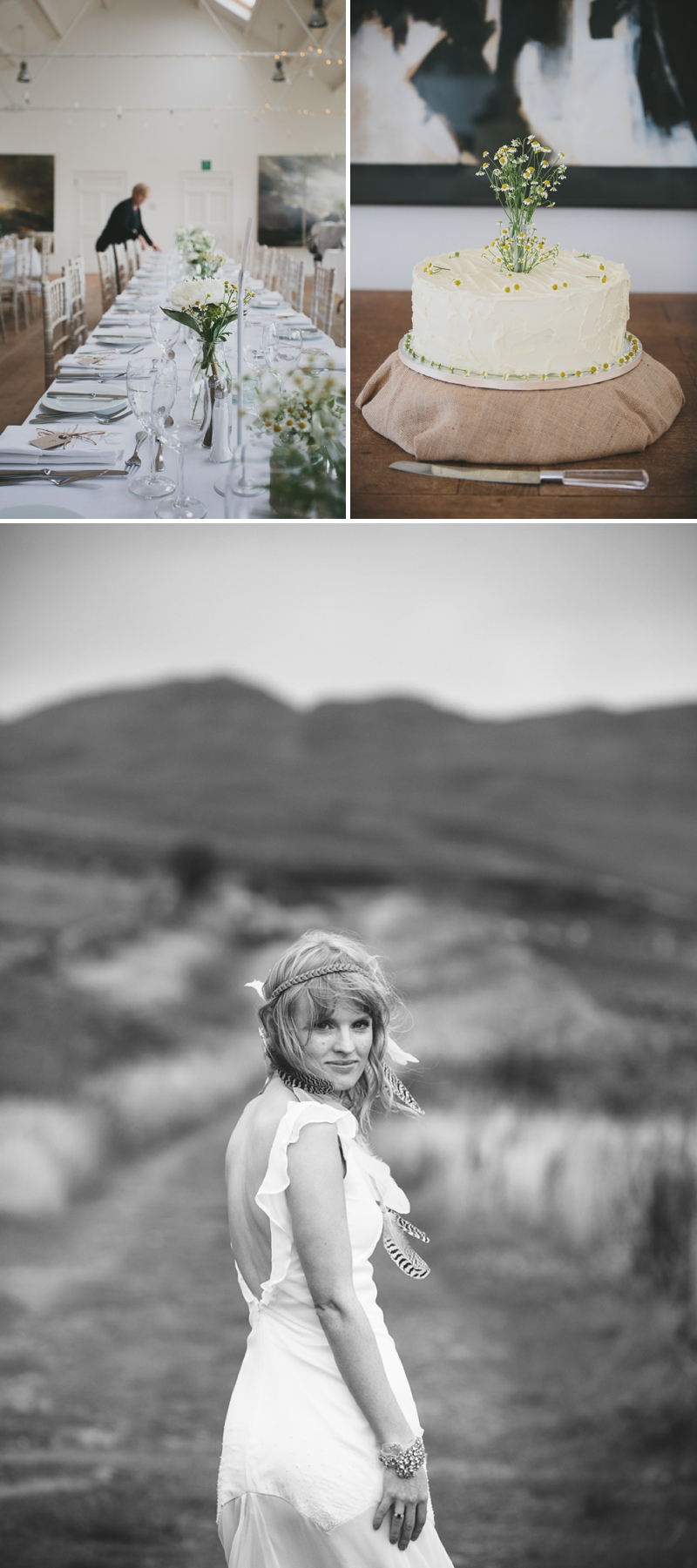 A beautiful modern wedding at Crear in Scotland with a sarah foy dress and feather headdress_0591